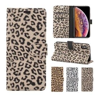 For iPhone 11 Pro 8 Plus 7 Case Leather Leopard Flip Book Cover Luxury Wallet case For iPhone 8Plus X XS Max XR 6S 6 S Plus Case