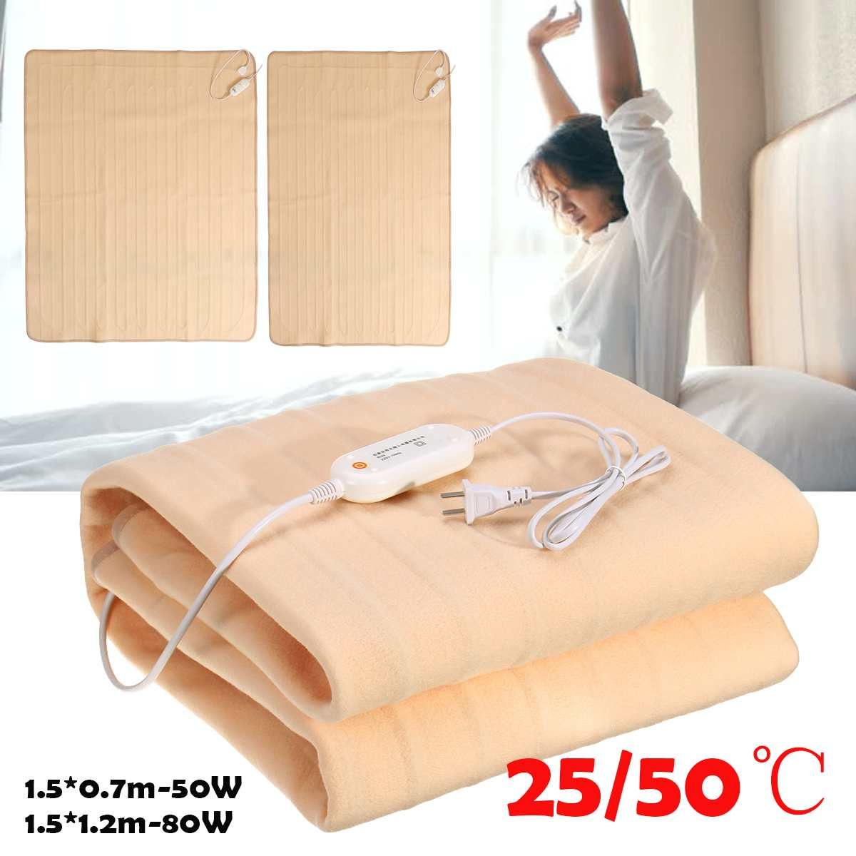 220V 2 Mode Waterproof Electric Heating Pad Body Winter Warmer Mat Bed Blanket Bed Heater