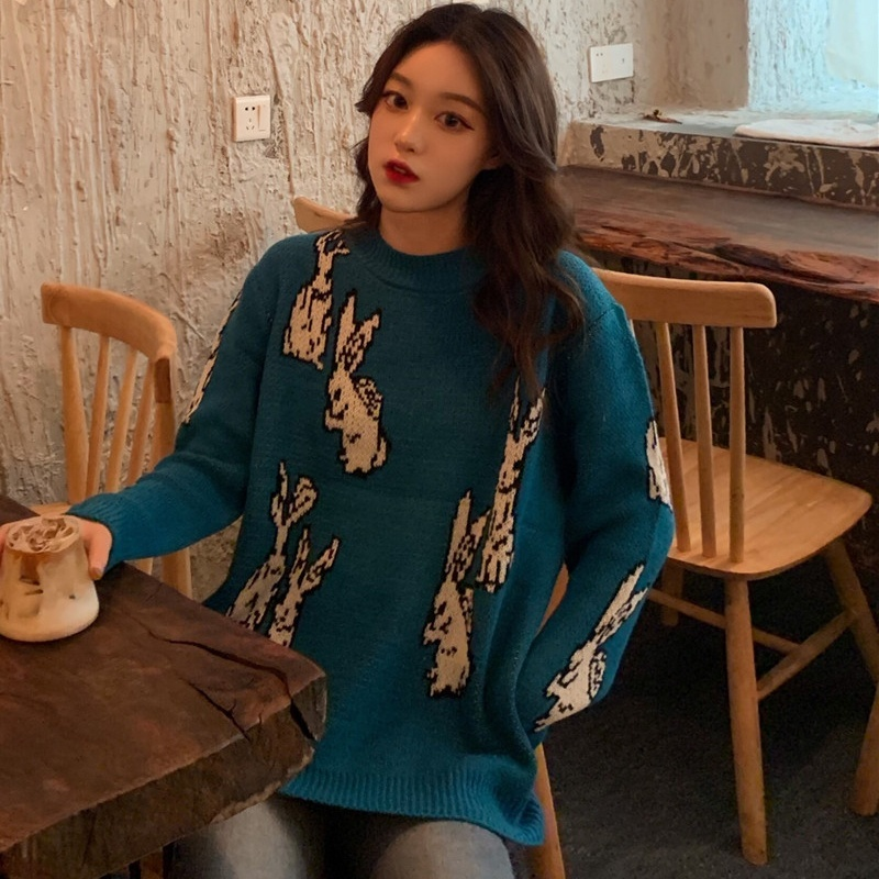 Women Sweaters Loose Pullover Sweater Cute Rabbit Embroidered Long Sleeve Sweater Plus Size