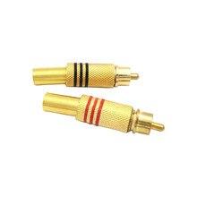 Conector de conector de áudio rca chapado en oro, protetor de cabo de retoque de metal, rojo y negro, 4 uds./2 pares