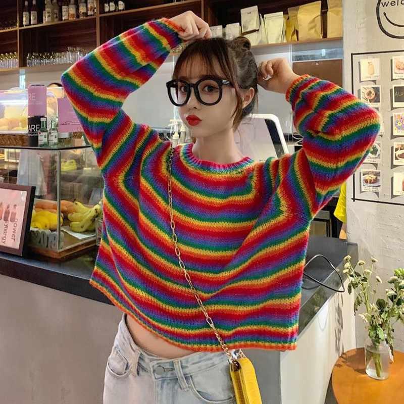 سويتر مقلم جديد الخريف الكورية Harajuku س الرقبة الإناث فضفاضة البلوزات اليابانية Kawaii قوس قزح Ulzzang فتاة الملابس