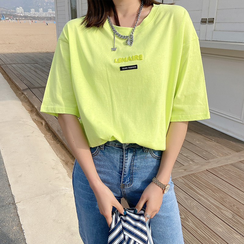 Fashionable three-dimensional letter hot drilling loose turret round neck temperament T-shirt mid-length cotton top