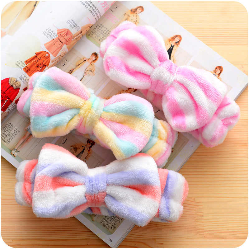 Cute Cat Ear Coral Fleece Elastic Hair Ribbon Bath Shower Make Up Wash Face Cosmetic Headband For Women Hair Band Headwear
