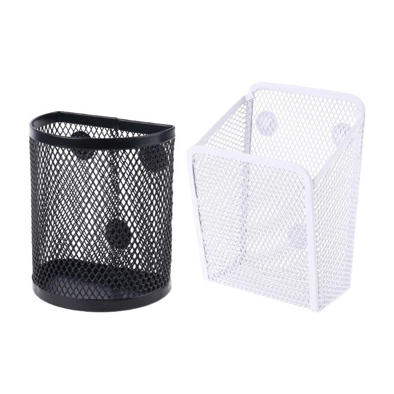 Metal Wire Mesh Magnetic Basket Storage Box Pen Pencil Makeup Organizer Kitchen L29K