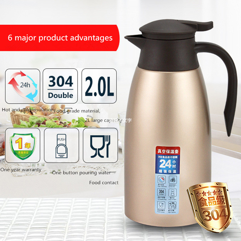 304 из нержавеющей стали вакуумная изоляция горшок термос Европейский кофейник домашнего термос 2L подарок сделанный на заказ