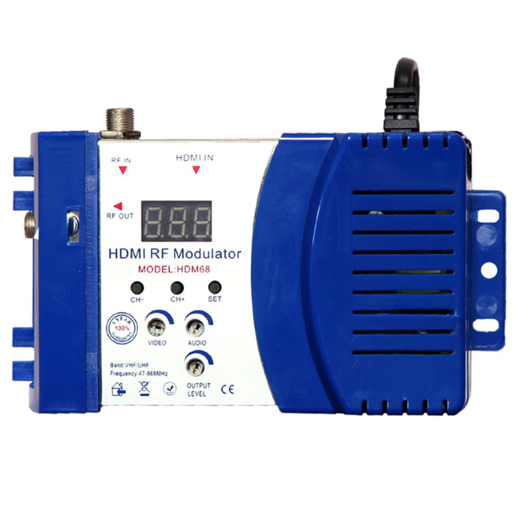 HDM68 Modulator Digital RF HDMI Modulator AV to RF Converter VHF UHF PAL/NTSC Standard Portable Modulator for US Blue|Modems| |  - title=