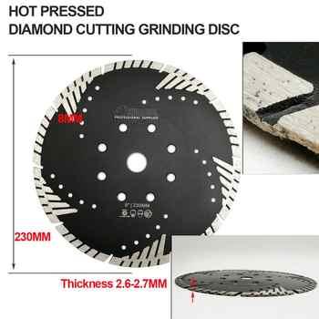 SHDIATOOL 2pcs 230mm Hot Pressed Diamond Turbo Blade With Slant Protection Teeth concrete tile granite marble Cutting disc