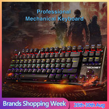 Tecknet Mechanical Gaming Keyboard 88 Tombol Rainbow Backlit Switch USB Wired Gamer Kit Inggris Tata Letak untuk PC Windows(China)