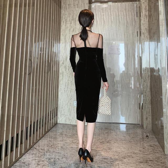 2021Fashion Polka Dot Mesh Slim Ladies Dresses Sexy Long Sleeve Women Bodycon Dress 3
