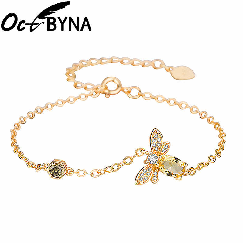 Octbyna Fashion Bee Insect Merk Armband Voor Vrouwen Champagne Zirkoon Gouden Kleur Ketting Armband Wedding Party Gift Dropshipping