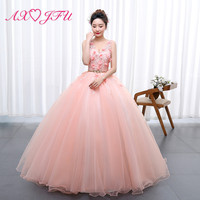 AXJFU luxury princess pink lace bride evening dress vintage v neck beading red rose ball gown sleeveless lace evening dress