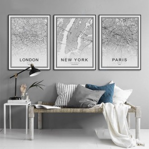 Black And White City Paris Map Painting Nordic Poster Simple Wall Art Print Canvas Pictures Home Decoration For Living Room