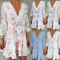 2021 Hot Fashion Vintage Vacation Sundress Sexy V-Neck Dresses for Woman Hollow Summer Beach Seven-Quarter Sleeve