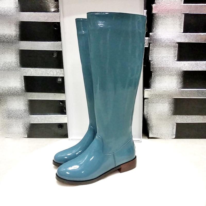 Vankaring 브랜드 특허 가죽 무릎 높은 부츠 여성 플랫폼 장화 낮은 굽 모든 일치하는 승마 겨울 스노우 부츠 여성-에서무릎 - 하이 부츠부터 신발 의  그룹 1