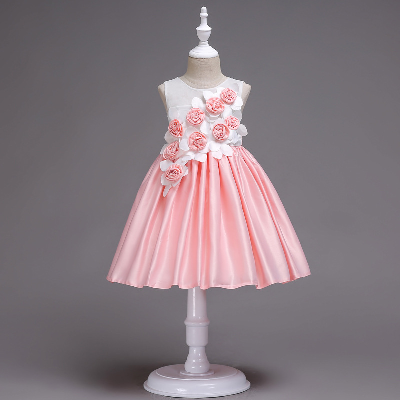 CHILDREN'S Dress Satin Sleeveless Dress Party Performance Princess Skirt Solid Color Jump Color Dignified Glorious 3-Color