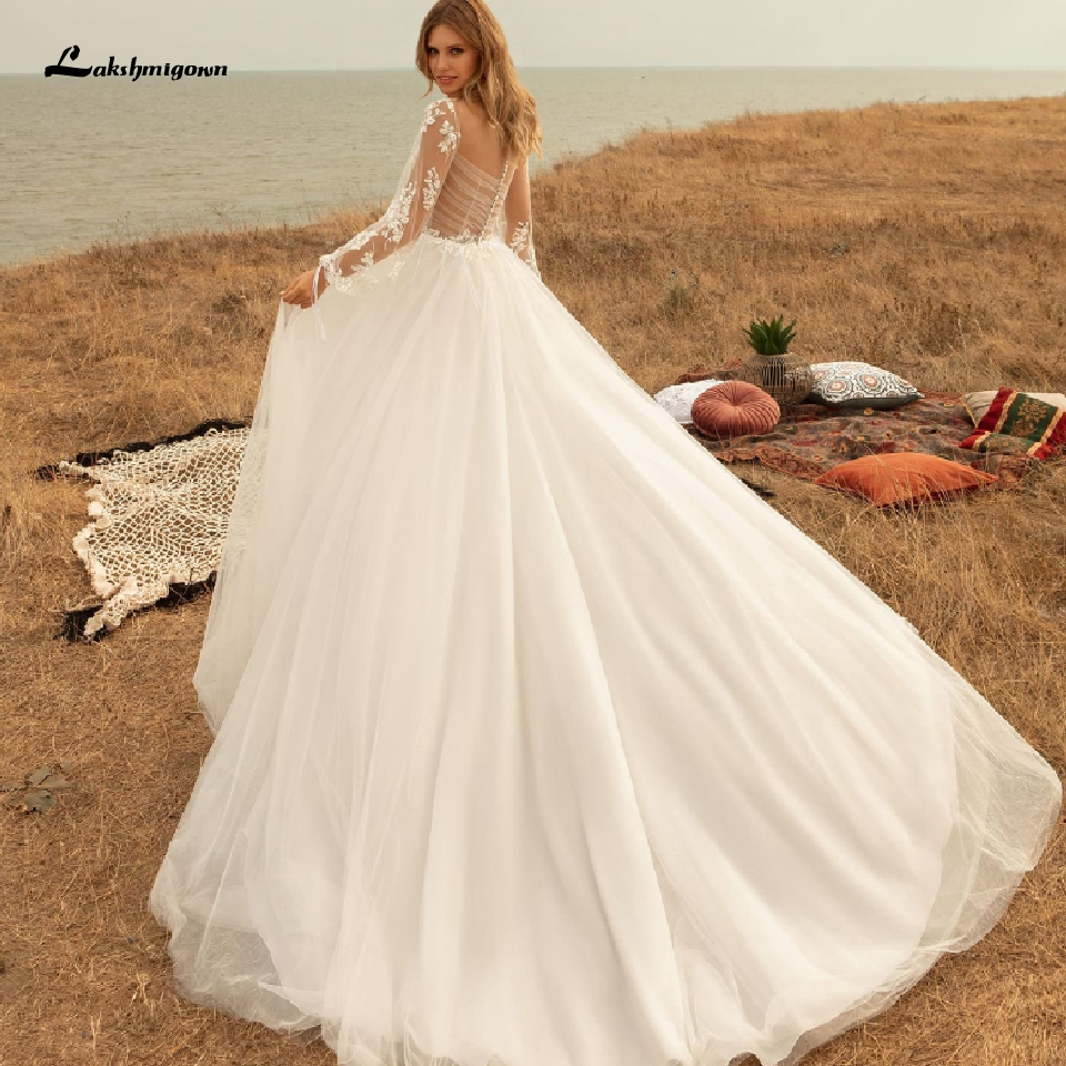 Brautkleid Sexy Bridal Long Sleeves Summer Wedding Dress Beach 2020 Robe Marie Tulle Wedding Gowns See Through Lace Appliques