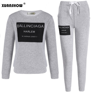 Image 4 - XUANSHOW Fashion Women Sportswear Autumn Winter Printed Letter Tracksuits Long sleeve Casual Suit Costumes Mujer 2 Piece Set 5XL