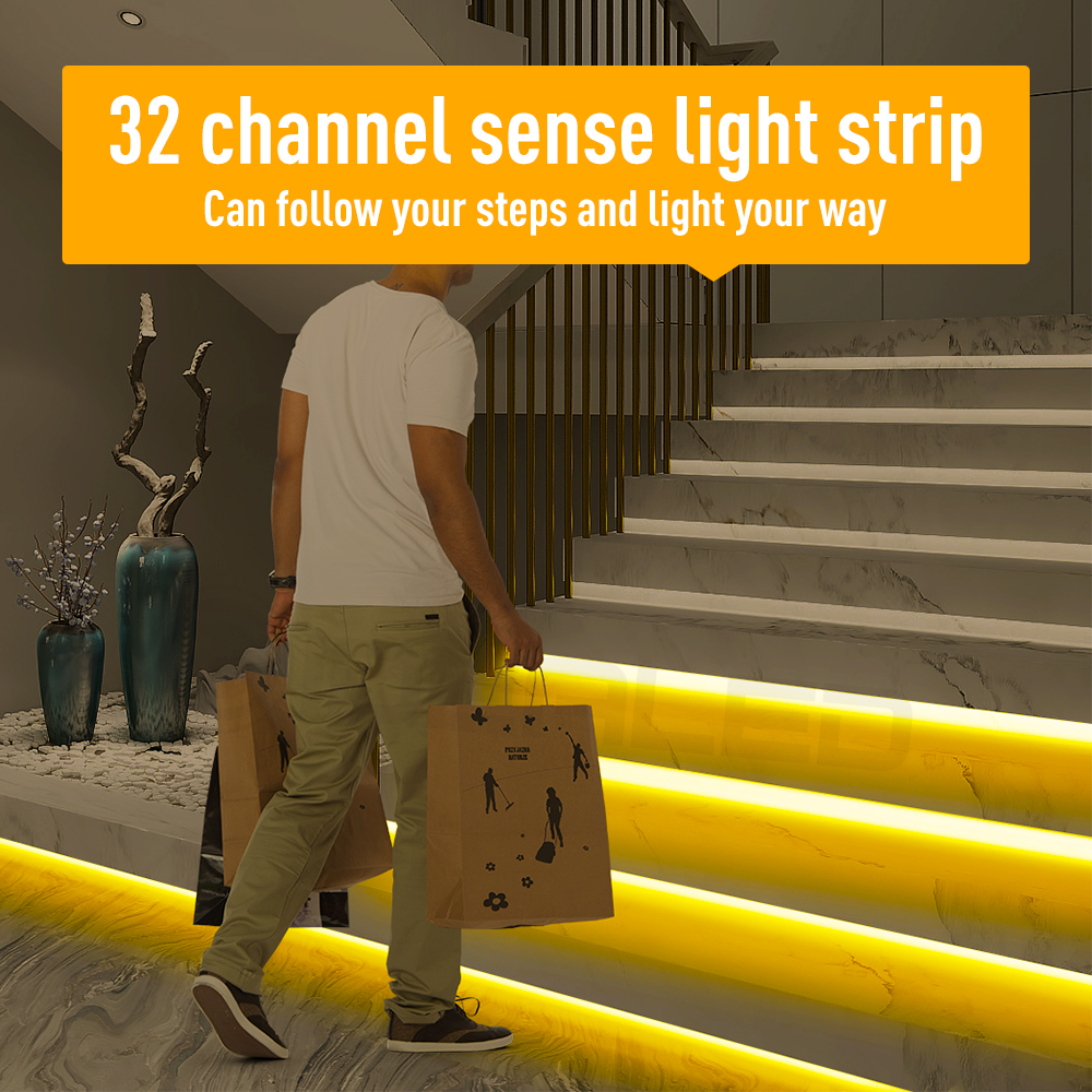 32 Channel LED Motion Sensor Light Strip Stair Dimming Light Indoor Motion Night light 12V/24V Flexible LED Strip for T