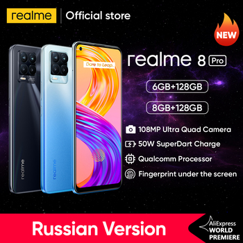 Realme 8 Pro 108MP Camera Global Version Snapdragon 720G Smartphone 6.4'' AMOLED 50W Super Dart Charge 1