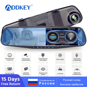 ADDKEY Radar Detector Mirror 3 in 1 Dash Cam DVR recorder with antiradar GPS tracker Speed detection for Russia Rear camera(China)