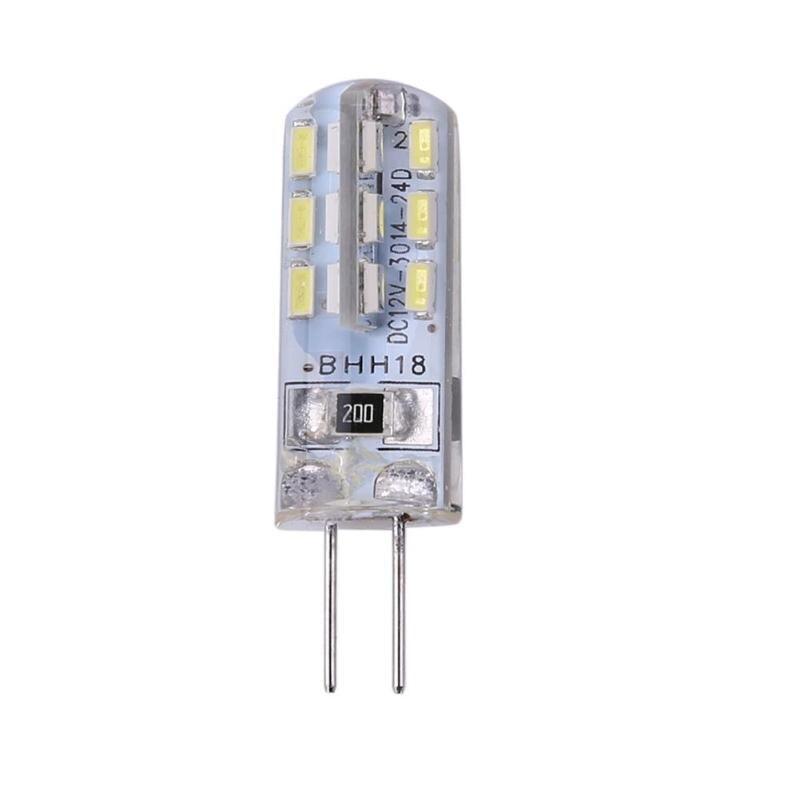 Lámpara LED G4 bombilla LED 2W cc 12V 24 SMD3014 110LM LED blanco silicona maíz bombilla luz halógena para sala de estar al aire libre interior