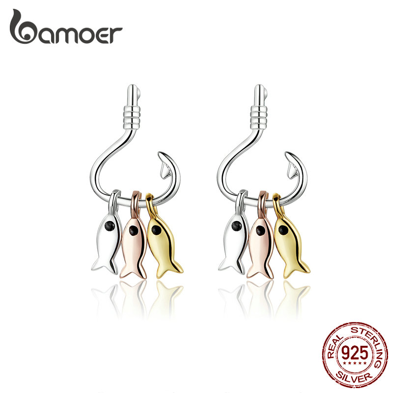 Bamoer 925 Sterling Silver 3 Colors Fish Hook Dangle Earrings For Women Unique Design Fishing Pendientes Fashion Jewelry SCE789