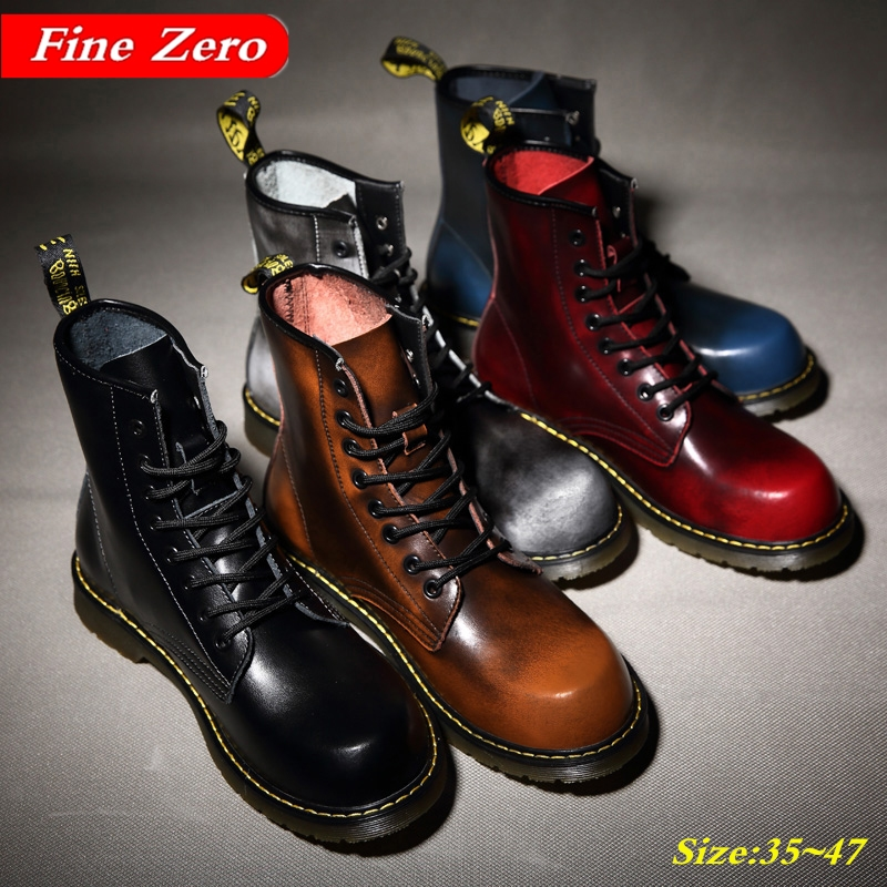 Unisex Big Size 47 British Motorcycle Autumn Winter Shoes  Men Desert Combat Boots Winter Warm Plush Ankle Boots Riding Shoes