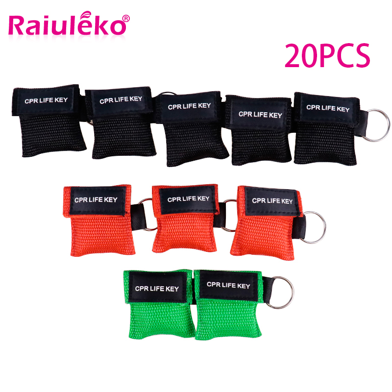 20pcs CPR Resuscitator Mask 30:2 Disposable First Aid Skill Training Face Shield Breathing Mask Mouth Breath One-way Valve Tool