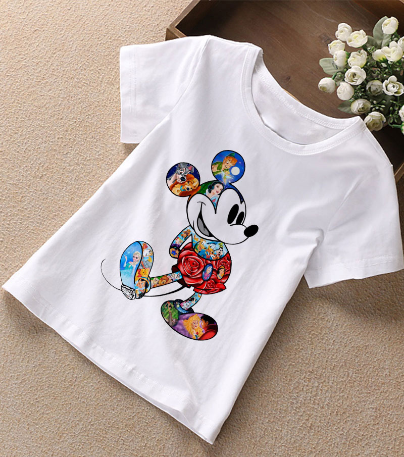 Summer New 2019 Baby Girl Clothes Cartoon Story Mouse Joker Casual Harajuku Tshirt Kids Fashion T-shirt Boys Funny Kawaii Print