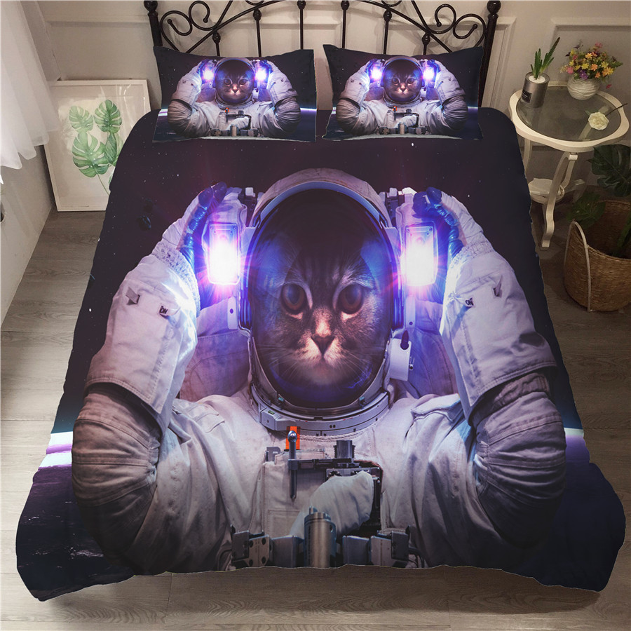A Bedding Set 3D Printed Duvet Cover Bed Set Astronaut Cat Home Textiles for Adults Bedclothes with Pillowcase MAO03 in Bedding Sets from Home Garden