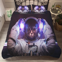 A Bedding Set 3D Printed Duvet Cover Bed Astronaut Cat Home Textiles for Adults Bedclothes with Pillowcase #MAO03