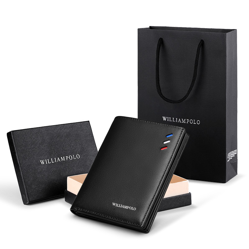 WILIAMPOLO Men Wallets Short Luxury Leather Man Wallet Mini Male Purse Leather Purse Credit Card Luxury Package PL181368