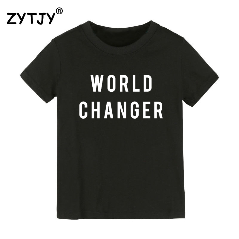 World Changer Print Kids tshirt Boy Girl t shirt For Children Toddler Clothes Funny Tumblr Top Tees CZ-134 image