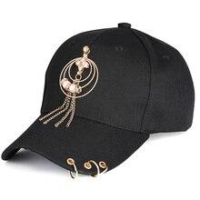 Women K Pop Baseball Cap Pearl Tassel Cotton Fitted Piercing Ring Hip Hop Visor Unisex Snapback Summer Snapback Adjustable Hats printio pornhub snapback