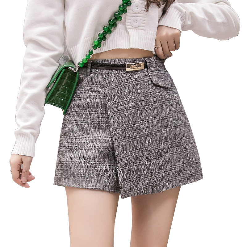 Autumn Irregular Plaid Short Pants Women High Waist Woolen Shorts Elegant Office Checked Mini Skirts Shorts Harajuku Shorts