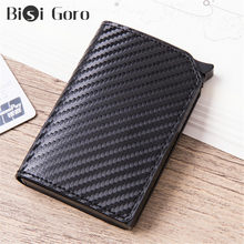 Bisi Goro 2020 Anti-Theft Serat Karbon Smart Wallet Slim Kartu Kredit Pemegang RFID Pop-Up Dompet Multi kartu Case untuk Dropshipping(China)