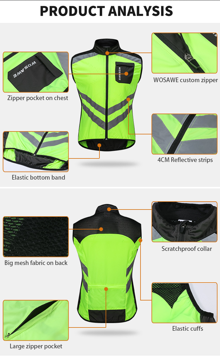 WOSAWE Motorcycle Jacket Sleeveless Reflective Vest Motocross Clothing Breathable Quick Dry Water Resistance Waistcoat 3