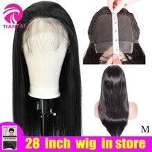 10-28 дюймов парики бразильские 4x4 закрытие парик человеческие волосы парики шнурка Длинные прямые Remy кружева Закрытие парики для женщин 150 плотность