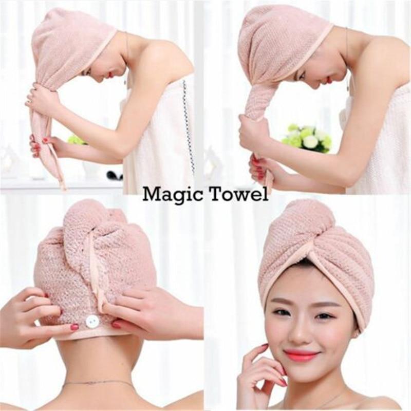 Feminino cabelo de secagem rápida microfibra banho spa toalha turbante nó torção laço envoltório chapéu boné para banho acessórios do banheiro