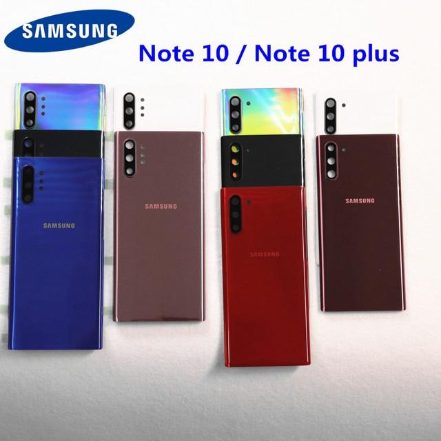 SAMSUNG Galaxy Note 10 용 삼성 백 배터리 커버 하우징 N970 N970F Note 10 plus N975 N975F NOTE10 후면 유리 케이스