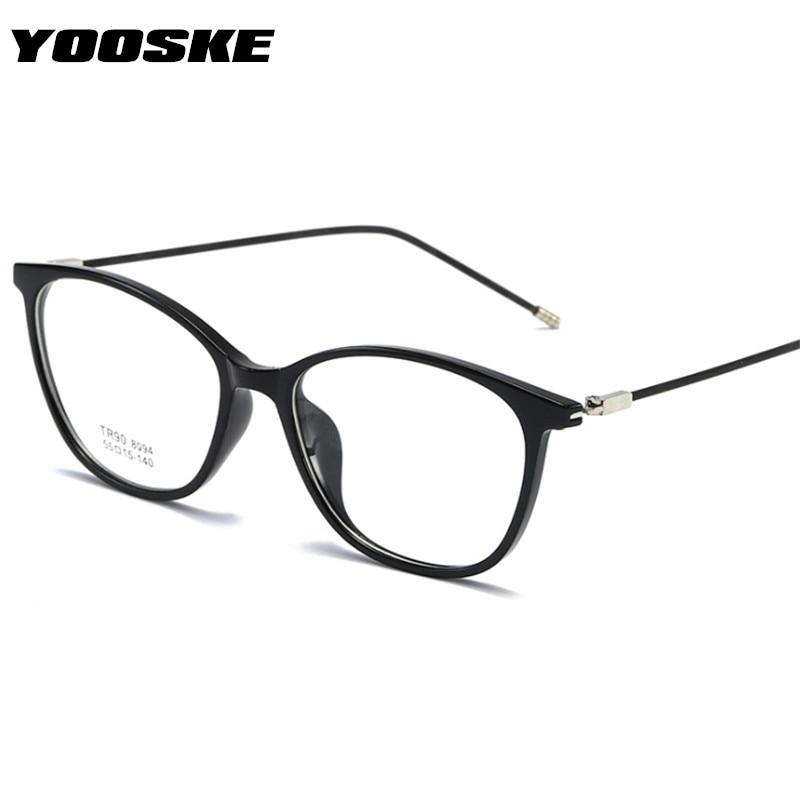 YOOSKE Cat Eye Glasses Frame Women Retro Ultralight TR90 Spectacles For Men Fashion Eyeglasses Frames Male Female Fake Glasses
