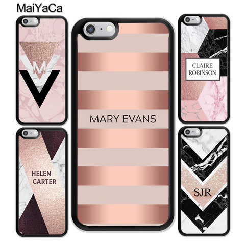 MaiYaCa PERSONALISED ROSE GOLD GEOMETRIC CUSTOM NAME INITIALS Phone Cases OEM For iPhone 11 Pro MAX X XR XS MAX 6 6S 7 8 Plus Pakistan