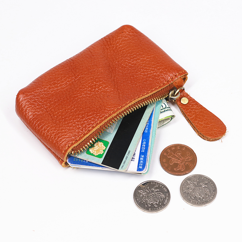 100% <font><b>Genuine</b></font> <font><b>Leather</b></font> Coin Purse <font><b>Men</b></font> Women Cowhide Vintage Small Mini <font><b>Short</b></font> Zipper Coin Bag Card Holder Case <font><b>Wallet</b></font> Male Female image
