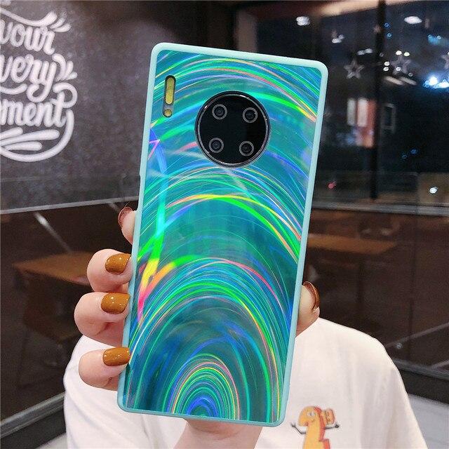 Funda De Lujo Huawei P30 Pro P40 P20 Lite Mate 20 30 Lite Mate 30 Pro, Funda Holográfica Con Prisma Láser Para Teléfono 3D Plain 4