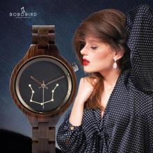 Zegarek damsk BOBO VOGEL Konstellation Muster Gravierte Frau Uhren Angepasst Quarzuhr In Papier Box Weihnachten Geschenk Für Sie