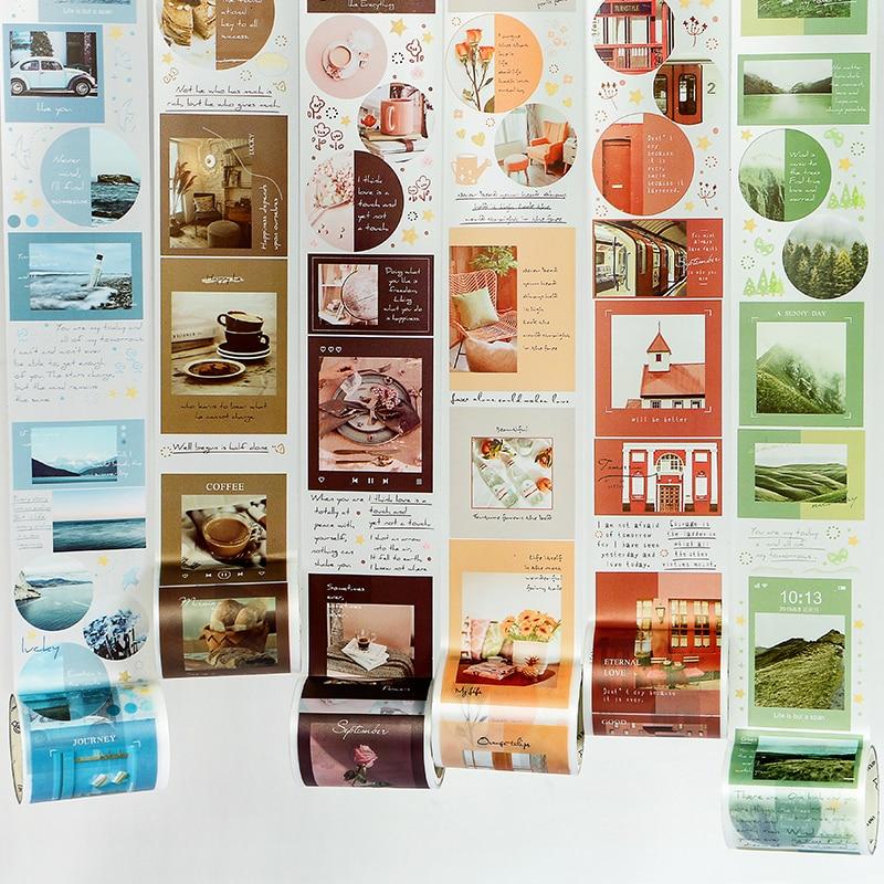 JIANWU 8 Styles 50m*3m Landscape Theme Stickers Matte PET Tape Washi Tape DIY Sticker Scrapbooking Diary Sticker School Supplies