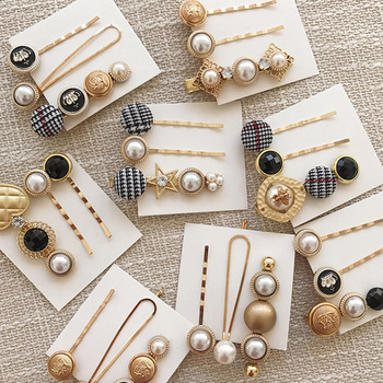 3Pcs/set Sweet Girls Women's Acrylic Acetate Beads Hairpins Pearls Metal Buttons Hair Clips Barrettes Hair Accessories For Gifts image