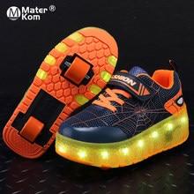Baskets lumineuses à roulettes pour enfants, chaussures de skate lumineuses avec chargeur USB, taille 29 – 39