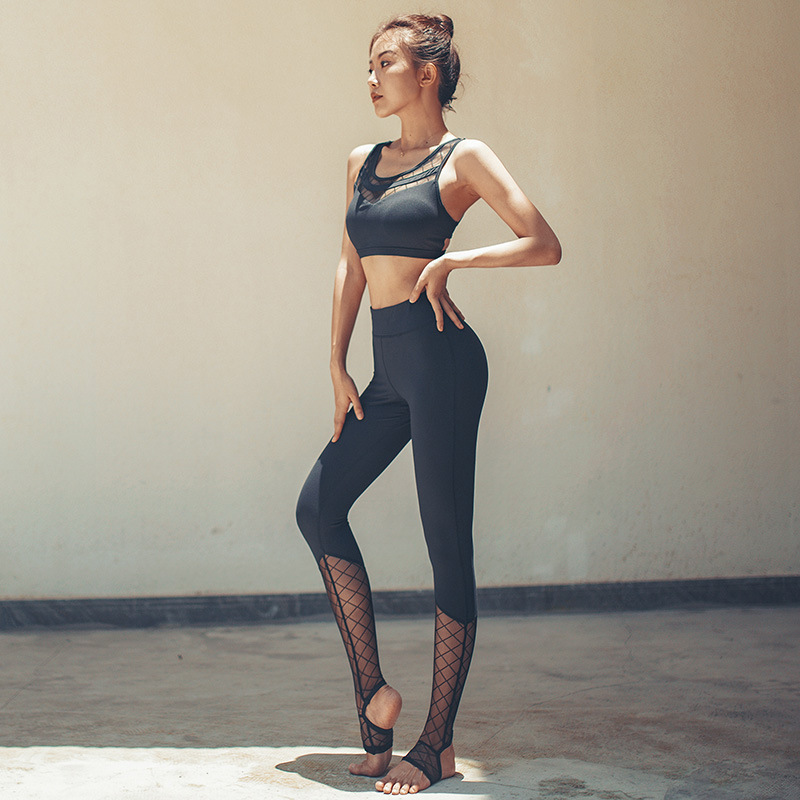 Galleria fotografica 2019 Yoga Clothing Suit Autumn And Winter Cross Beauty Back Bra Speed Dry Clothes Hips Tight Yoga Pants Two-piece Set