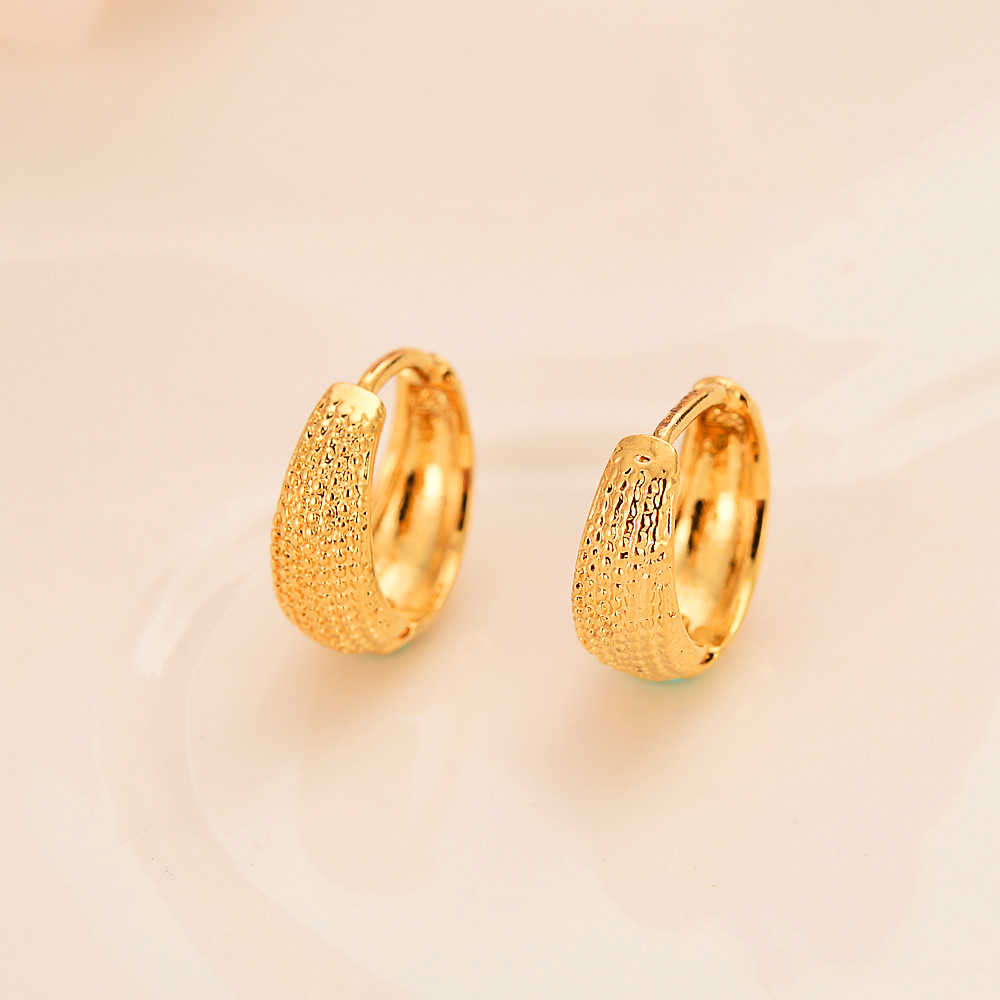 Scrub Women's Round hoop Earrings 24K Gold Color Middle Earring For Mens Girls Boys Fashion Kids Children Jewelry wedding part